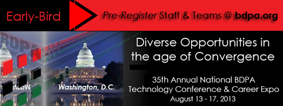 Select here to pre-register using early bird rates with BDPA Member discounts.