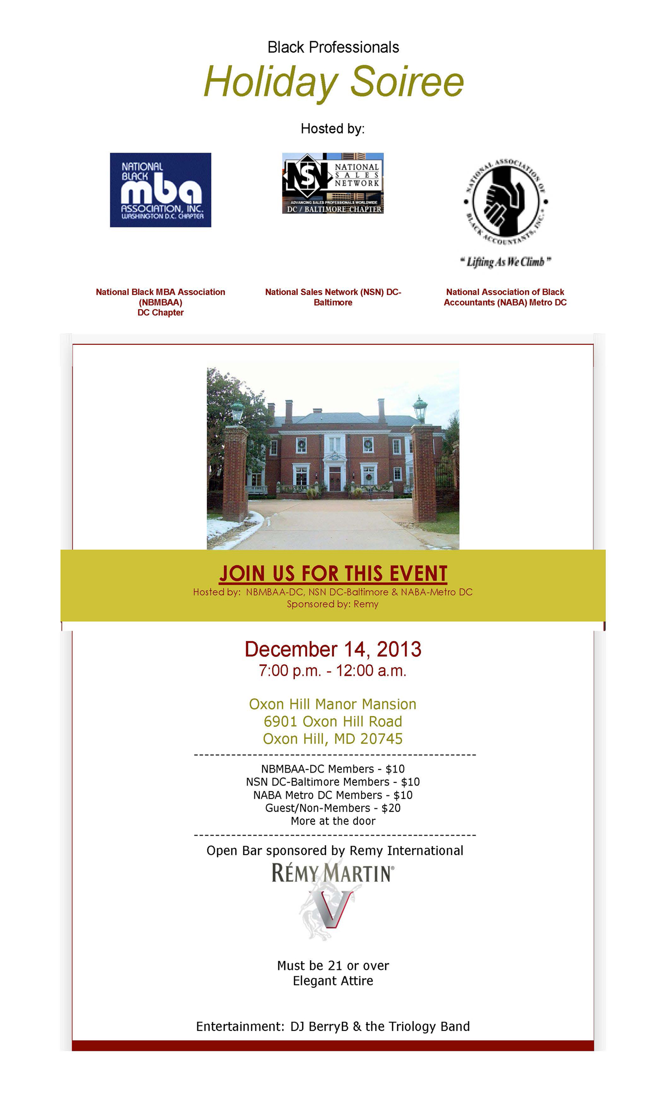 Select here for details: NBMBAA-DC Holiday Mixer at the Oxon Hill Manor